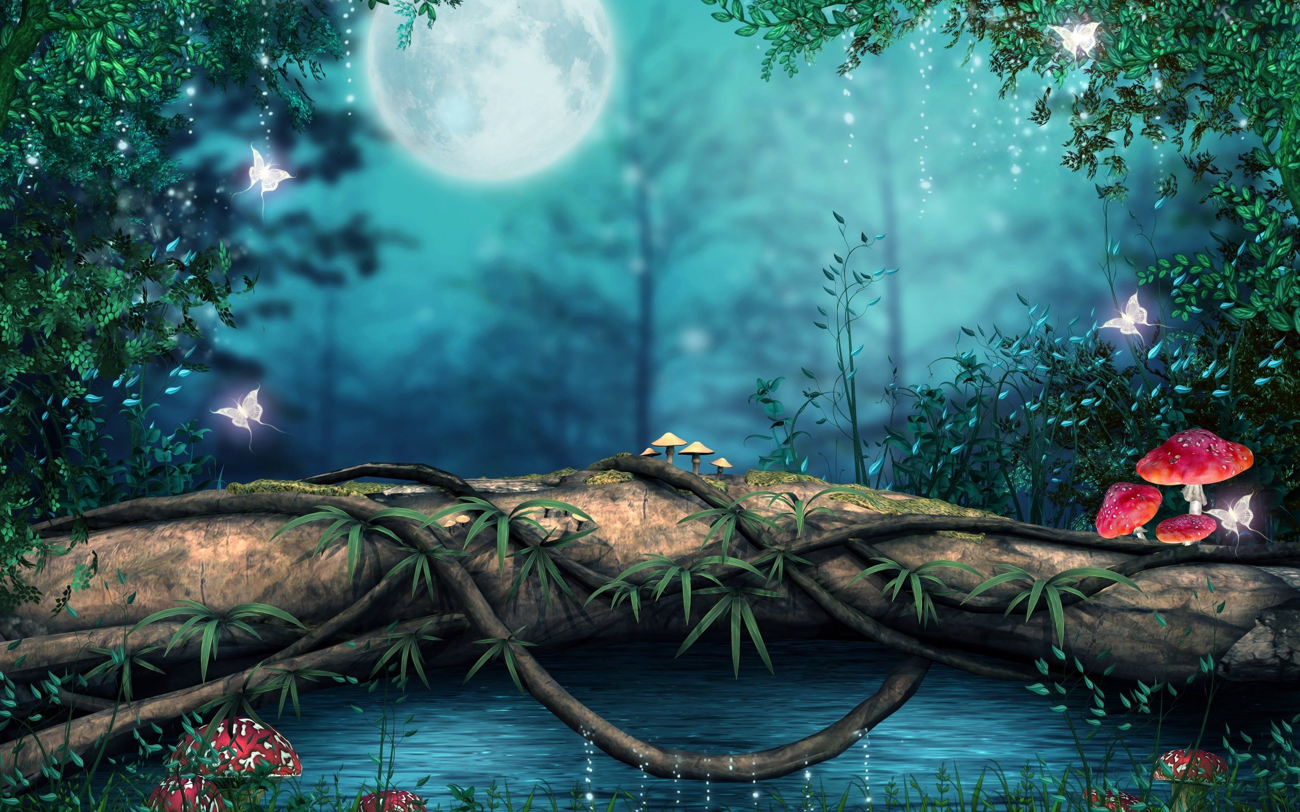 3D Nature Wallpaper HD Download Of Beautiful Forest 2560x1600