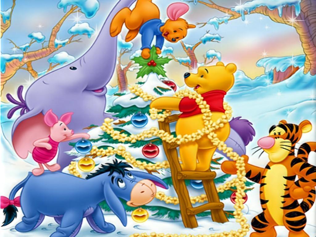 Winnie the Pooh Decorating Christmas Tree Wallpaper : Christmas ...