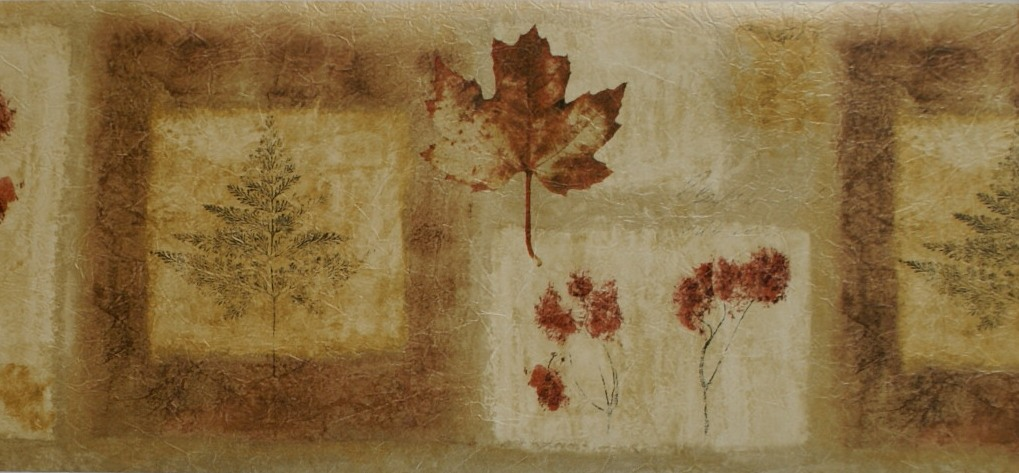 AUTUMN LEAVES CONTEMPORARY WALLPAPER BORDER   13B4   B6243 1019x473