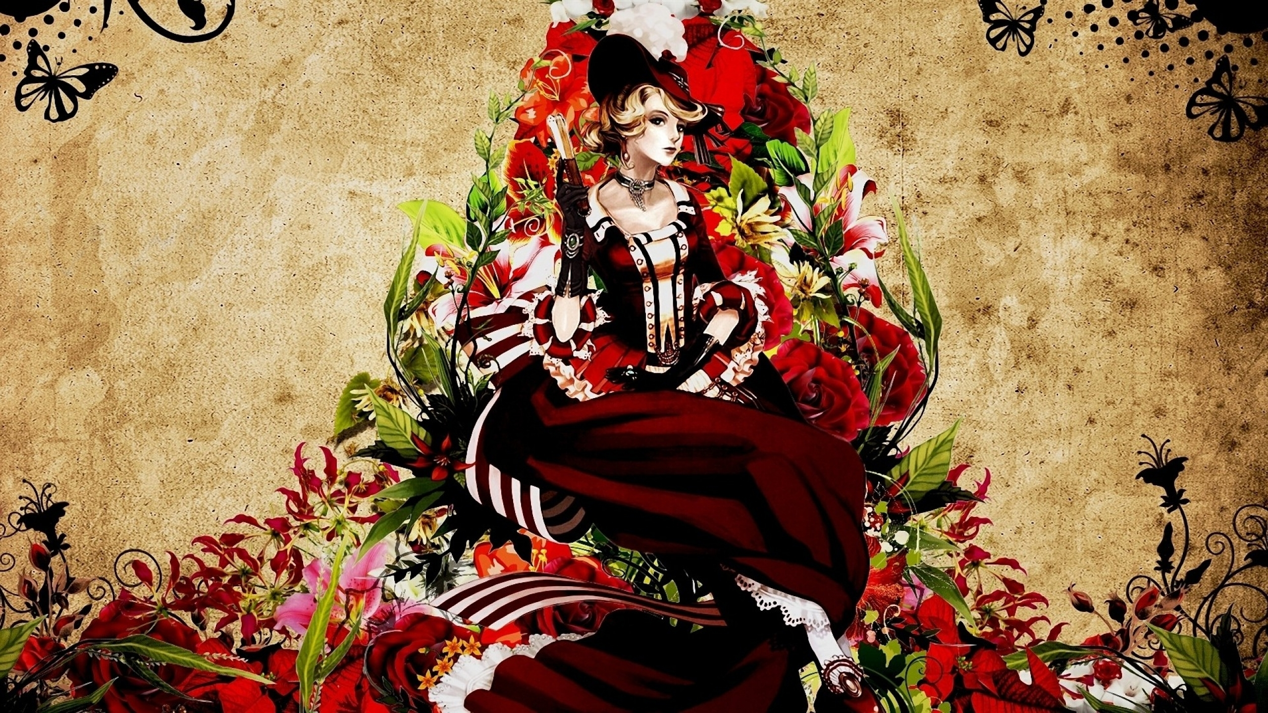 steampunk artwork anime hats anime girls 1920x1080 wallpaper Wallpaper 2560x1440