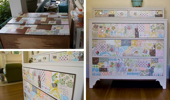 Use Vintage Wallpaper on an Old Dresser   DIY Home Decor Ideas on a 720x425