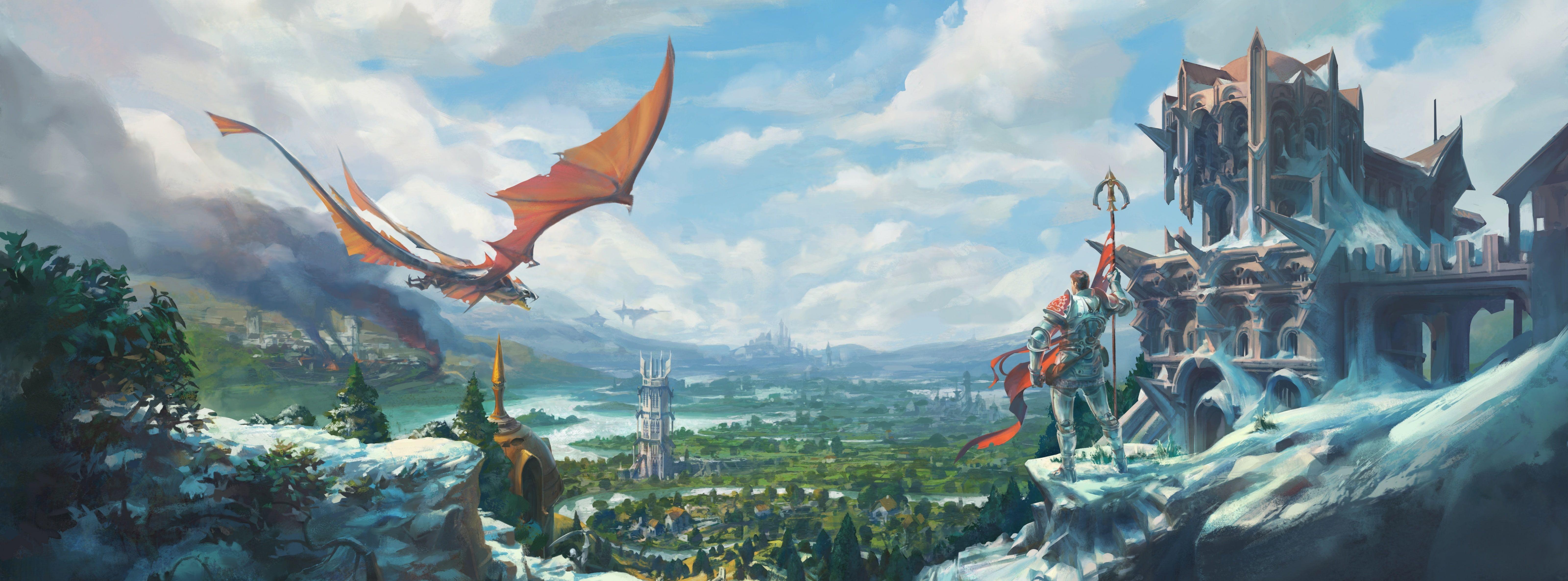 RuneScape Temple Knight Dragon game digital wallpaper Games 6400x2373