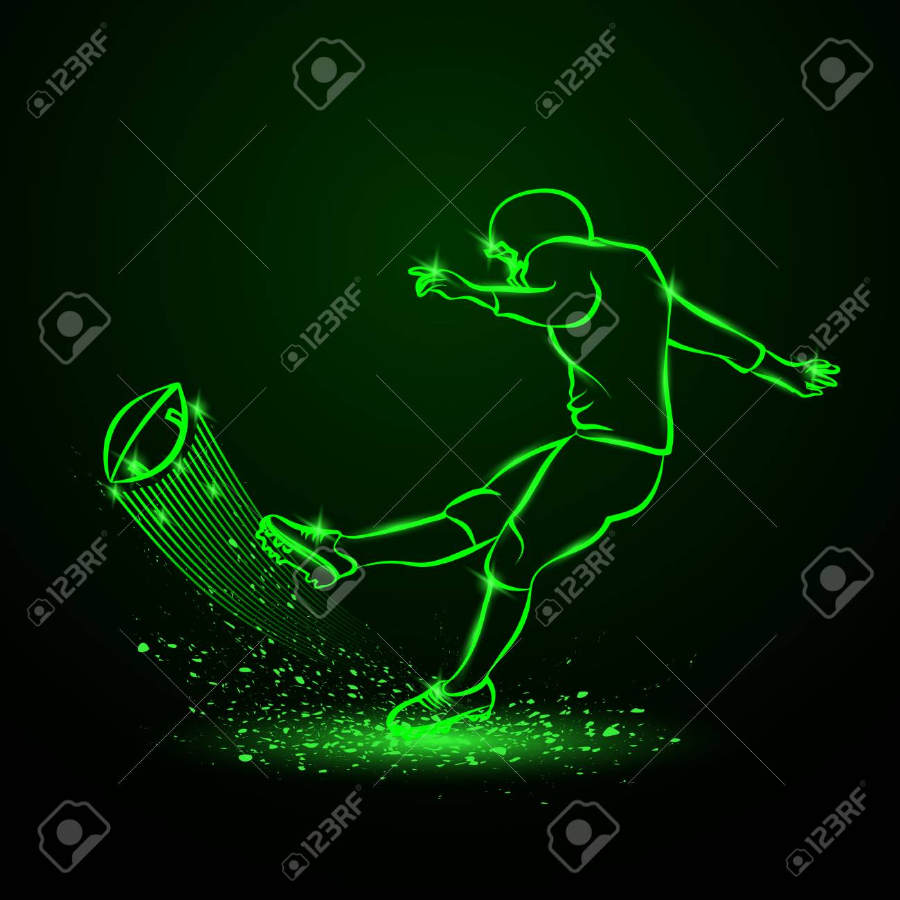 American Football Kicker Hits The Ball Green Neon Sport 1300x1300