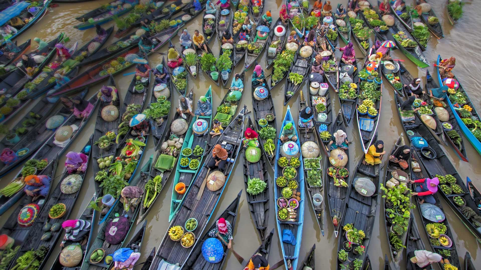 Wallpaper Indonesia floating market trade river boats 1920x1080
