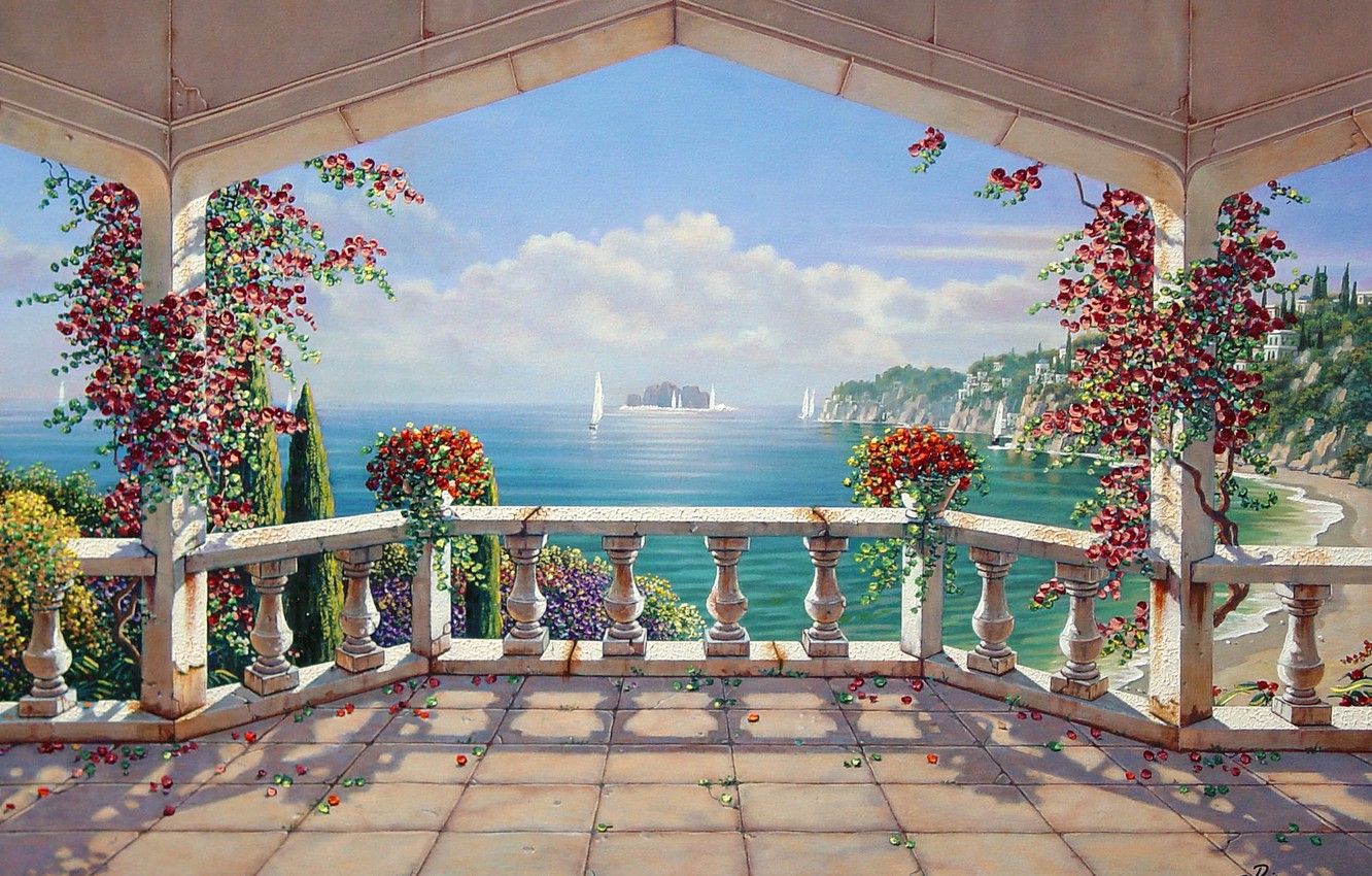 Wallpaper summer picture art artist painting harmony 1332x850