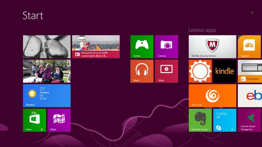 Windows 8 home screen screenshot Social Media Writer 1024x575
