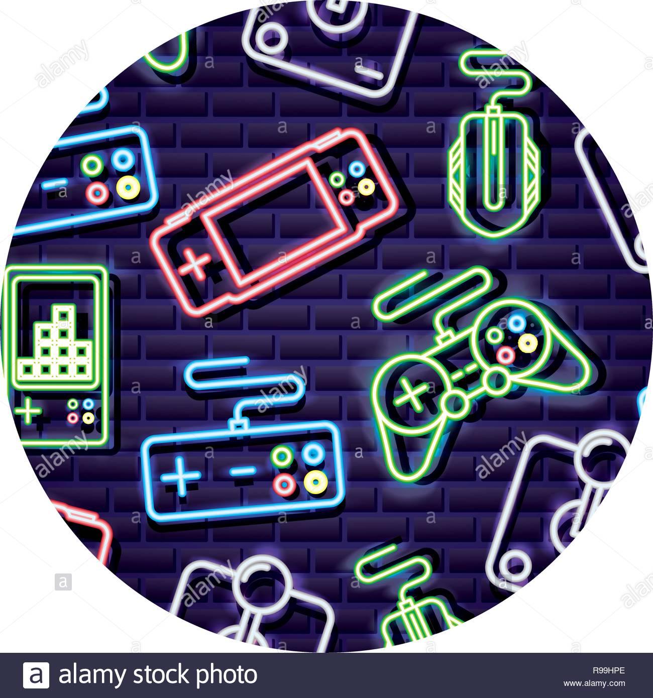 control joystick gamepad neon video game background vector 1300x1390