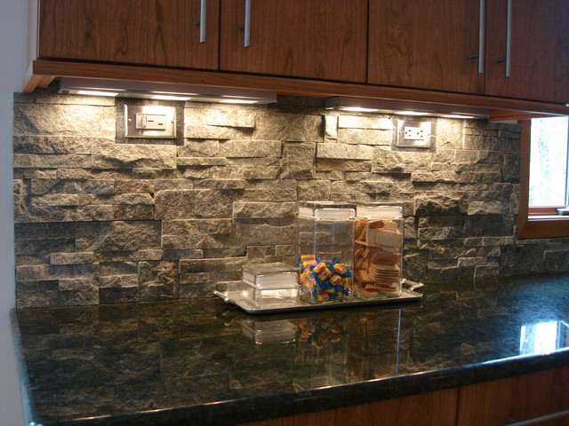 Stacked Stone Backsplash   Contemporary   Kitchen   cleveland   by 640x480