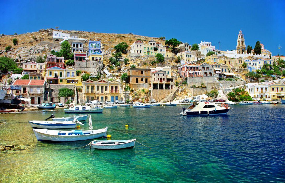 Greece Houses Sea Boats Corfu Cities wallpaper 2802x1800 1090x700