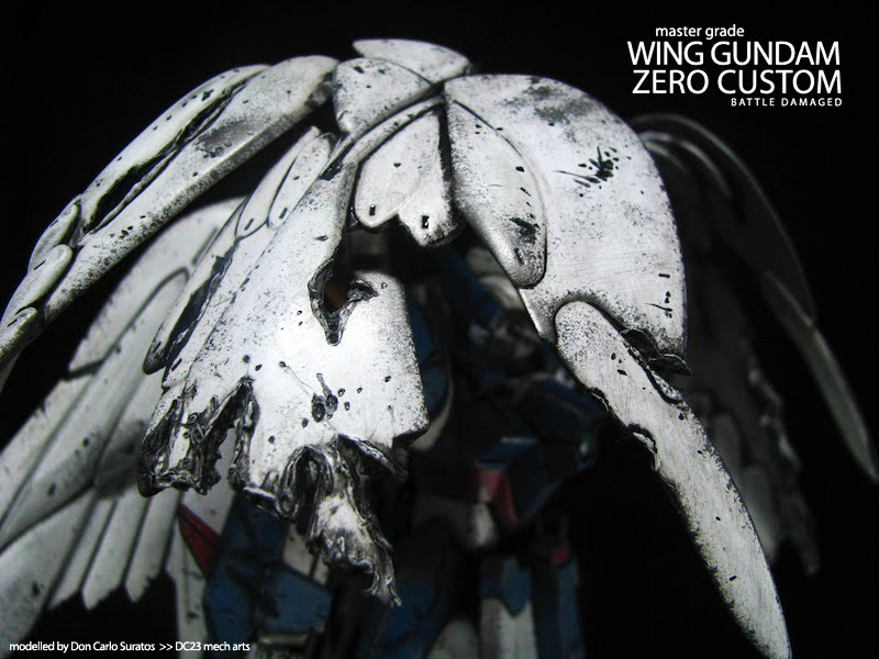 Wing Gundam Zero Custom   battle damaged DC23 mecharts 800x600