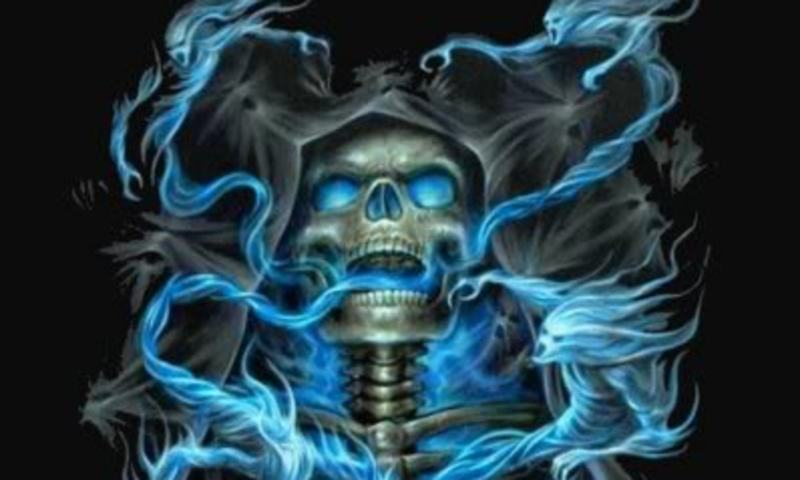 Blue Flame And Skull Wallpaper for Nokia N900   Hellaphone 800x480