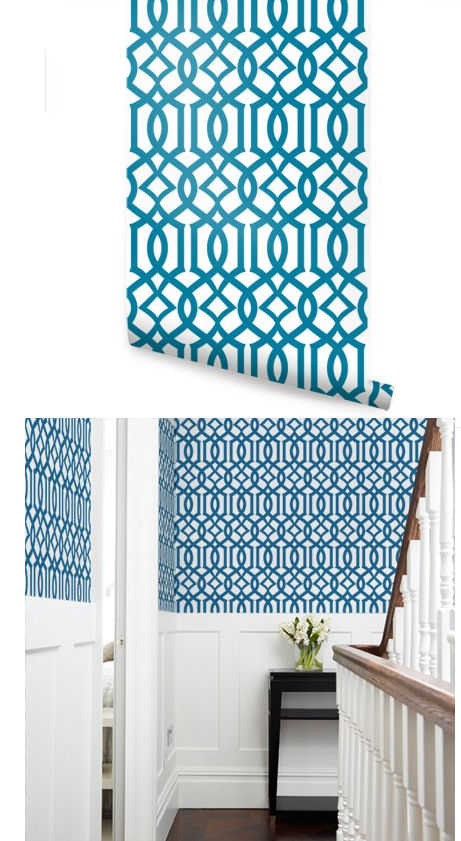 Modern Trellis Blue Peel and Stick Wallpaper   Wall Sticker Outlet 461x841