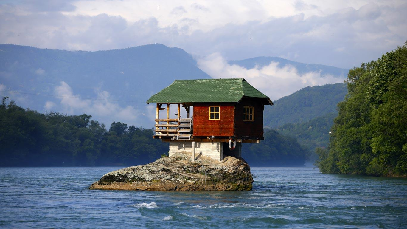 Bing Images   Funny House   A house built on a rock on the river Drina 1366x768