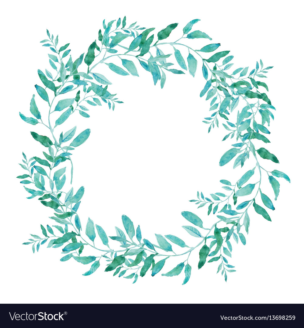 Olive wreath isolated on white background green Vector Image 1000x1080