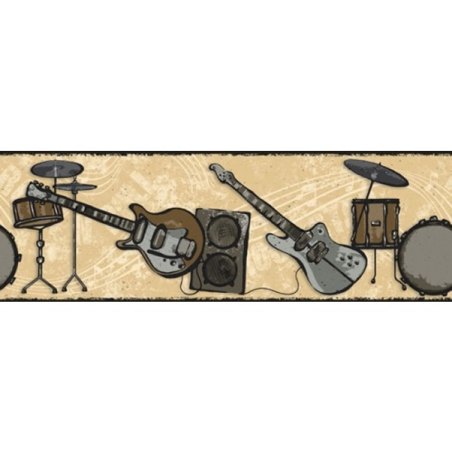 ROCK AND ROLL BAND SILVER GOLD WALL BORDER   All 4 Walls Wallpaper 650x650