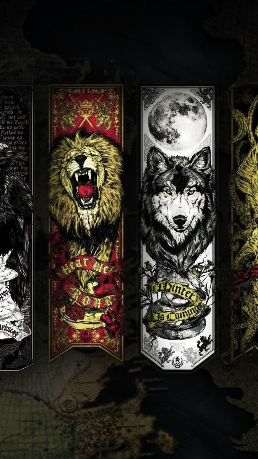 Game Of Thrones Lannister Stark House Wolf Lion Android Wallpaper 1080x1920