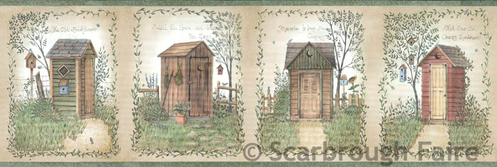 Outhouse Wallpaper Border FFR50321B Linda Spivey country bath decor 700x236