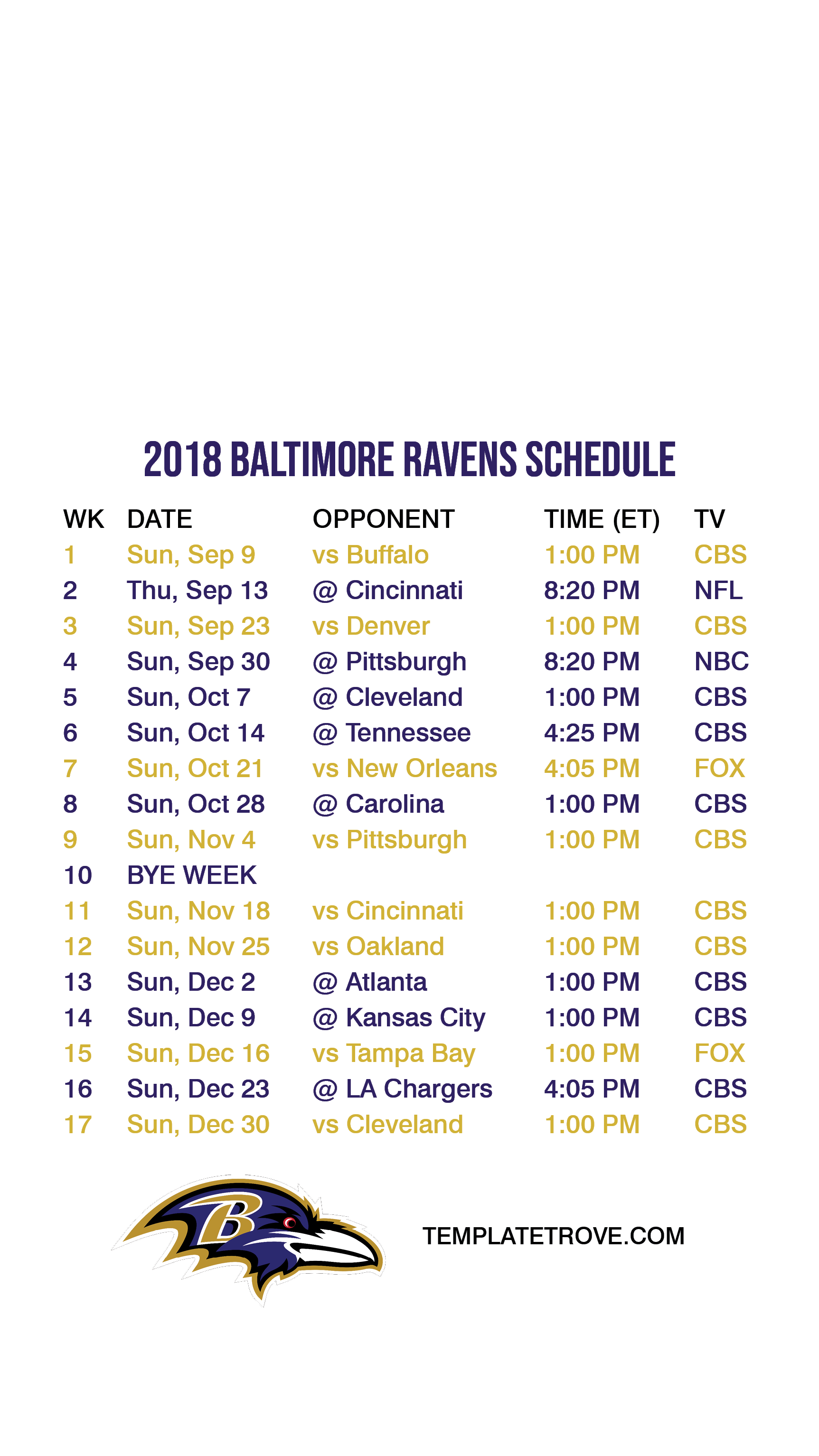 2018 2019 Baltimore Ravens Lock Screen Schedule for iPhone 6 7 8 Plus 1725x3067