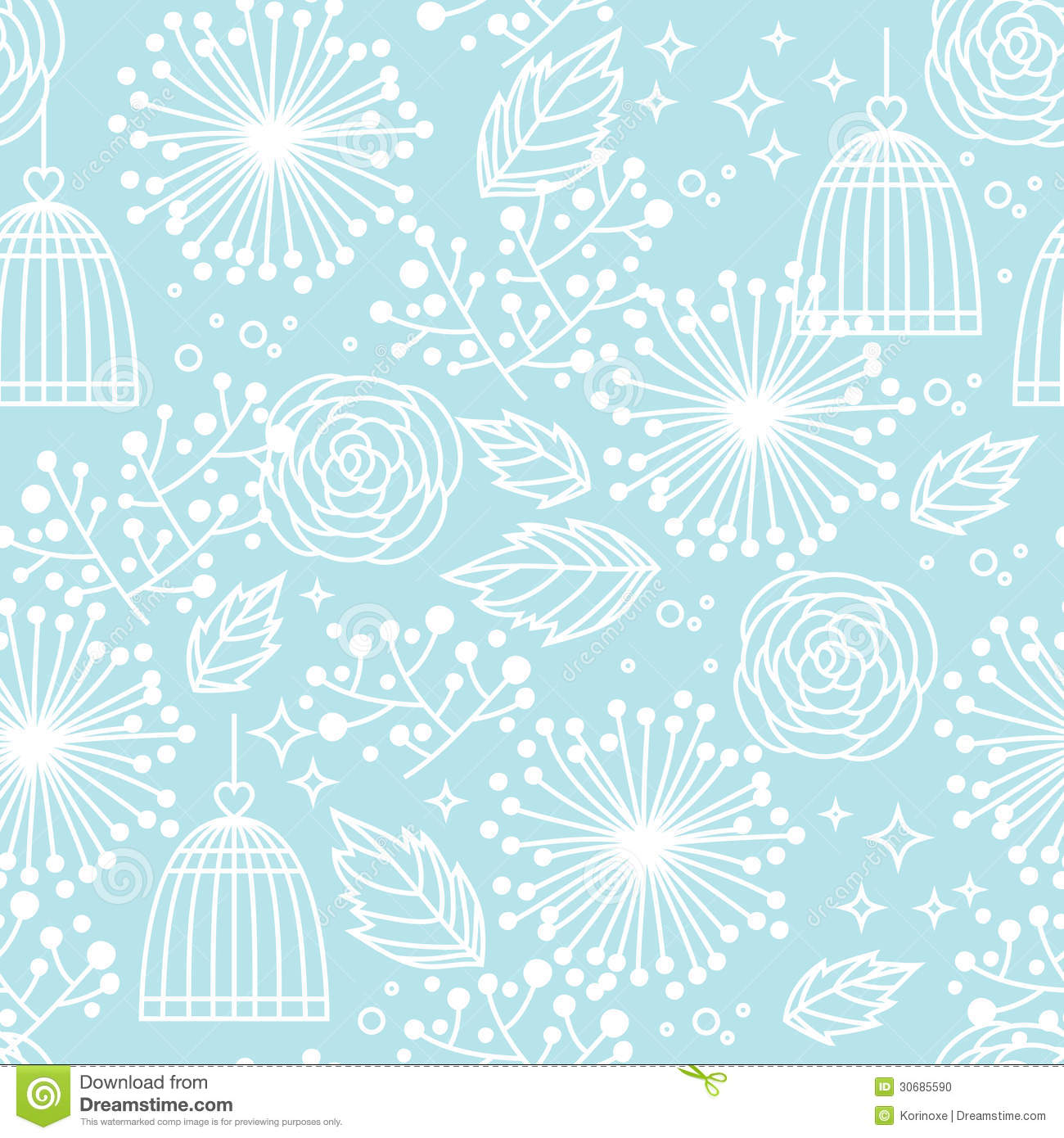 Free Download Blue Seamless Floral Pattern Background White