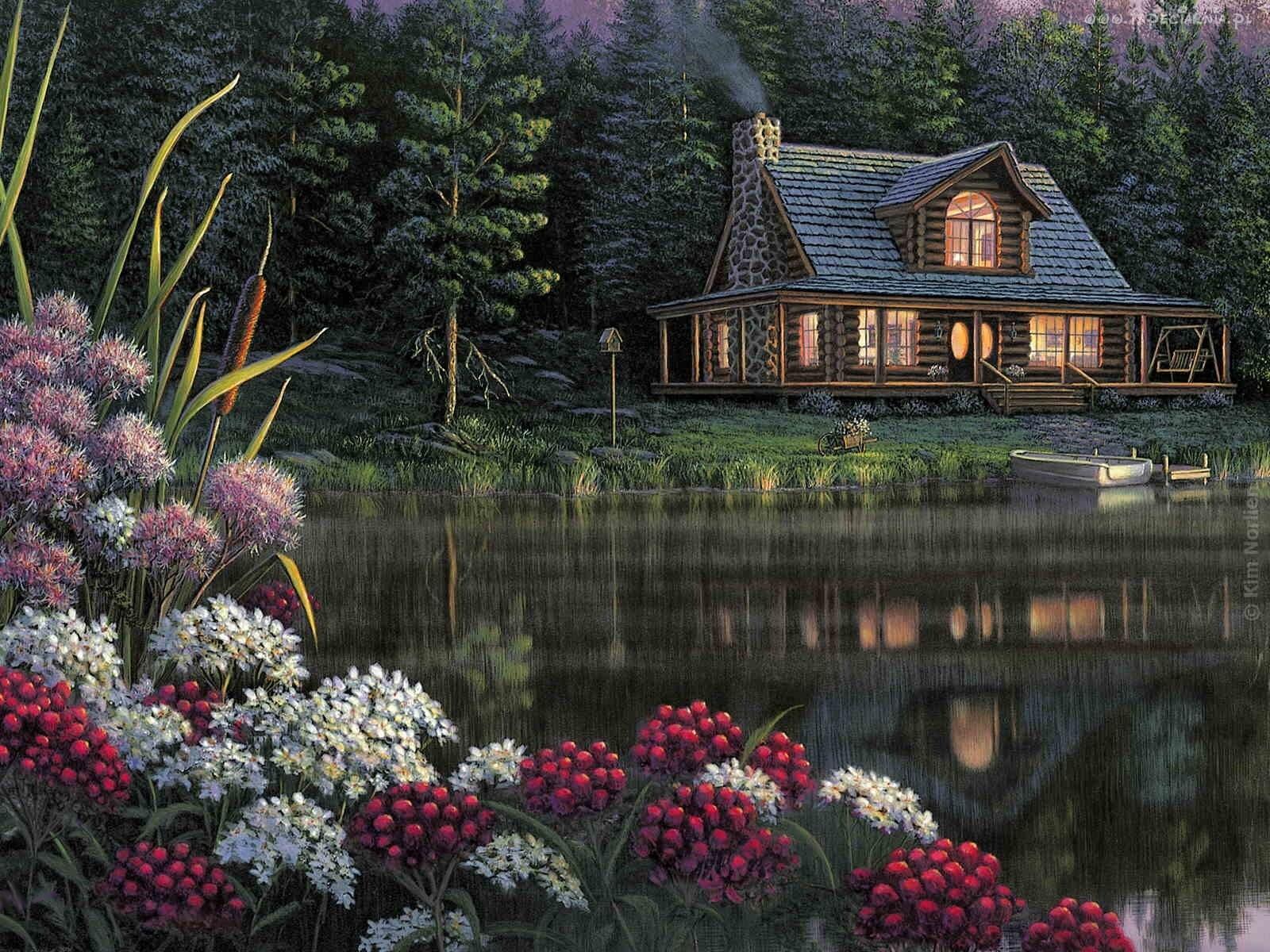Dom Nad Jeziorem Kwiaty 1600x1200
