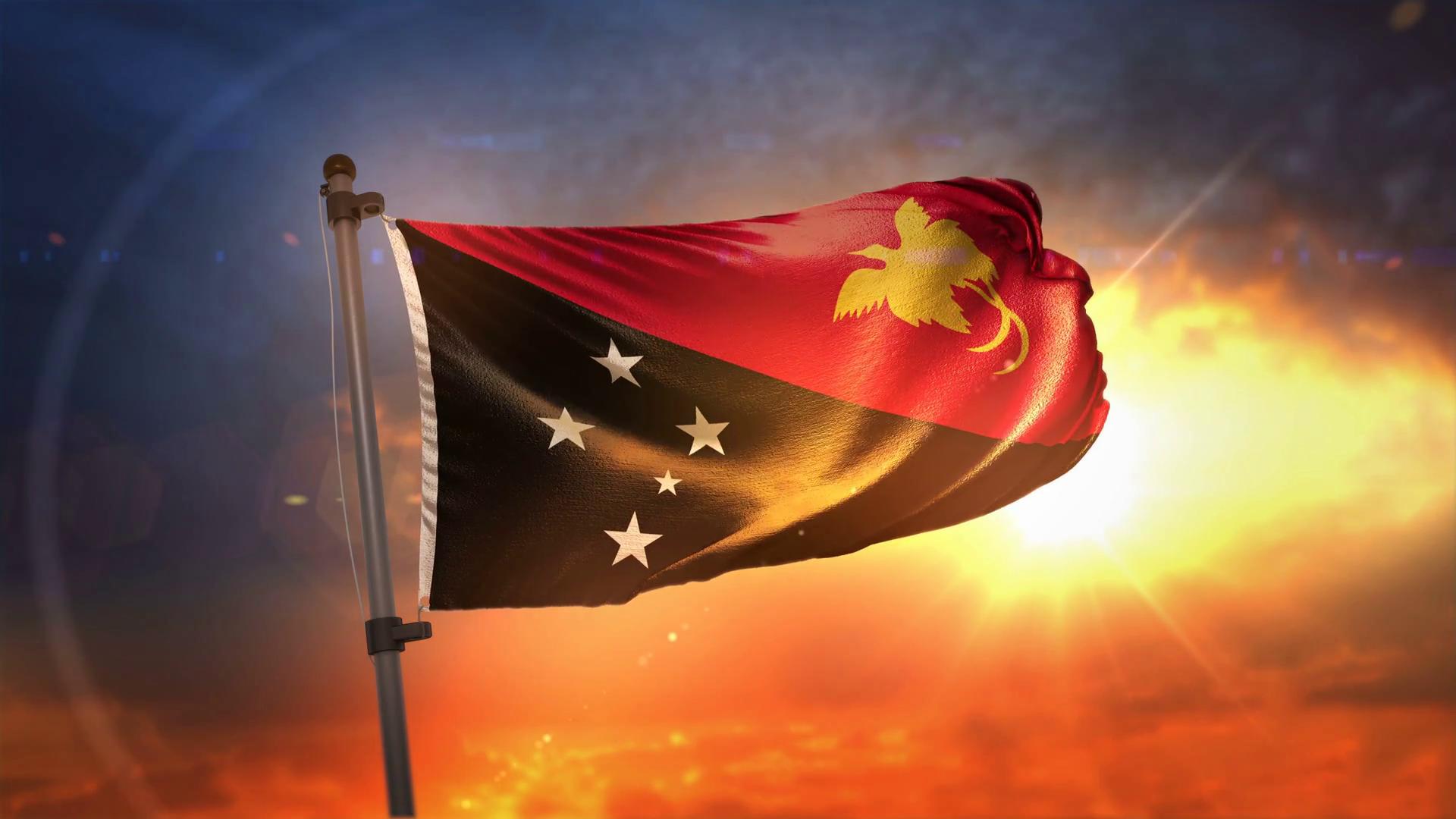 Papua New Guinea Flag Backlit At Beautiful Sunrise Loop Slow 1920x1080