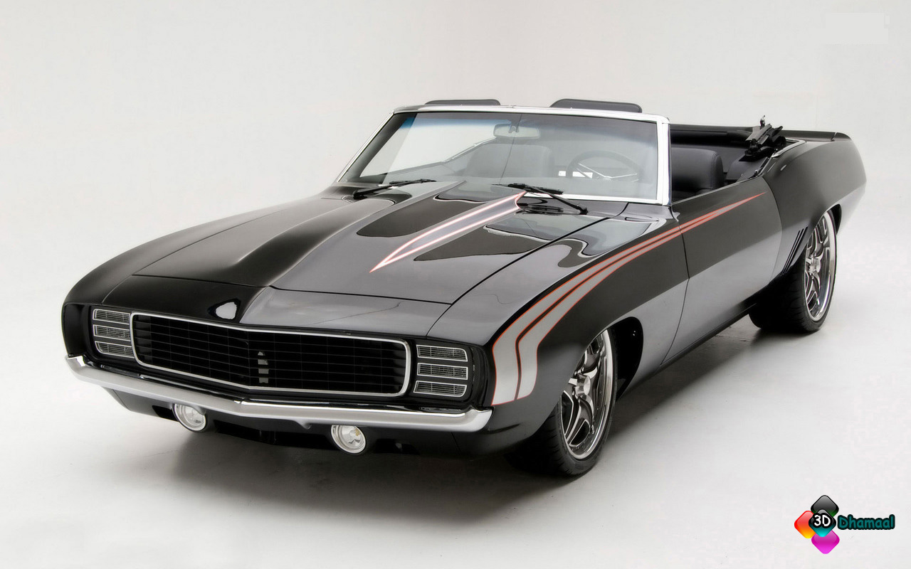 3D Wallpaper HD 1969 Chevrolet Camaro Convertible Car Wallpaper 1280x800