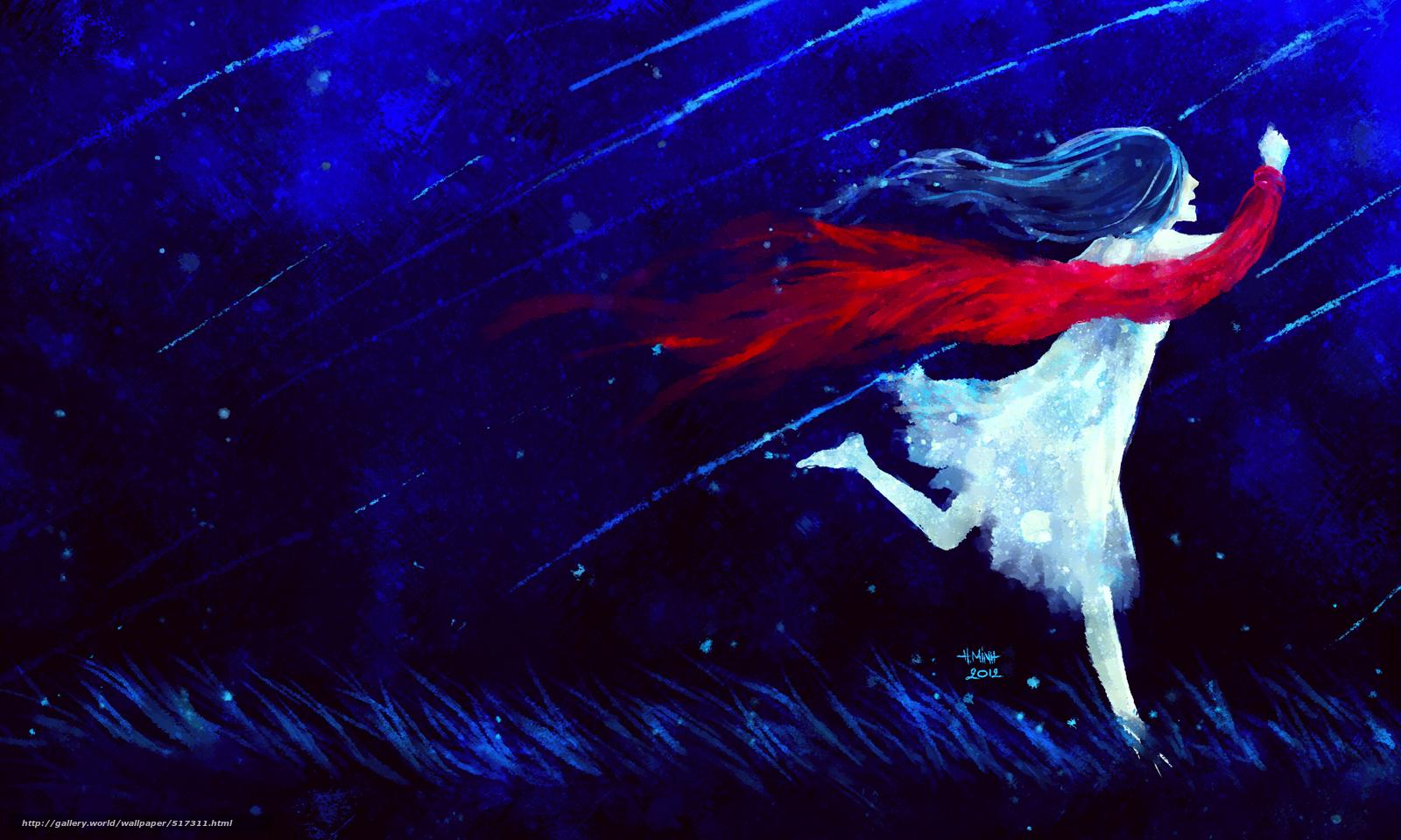 wallpaper night girl Shooting Stars runs desktop wallpaper 1600x960