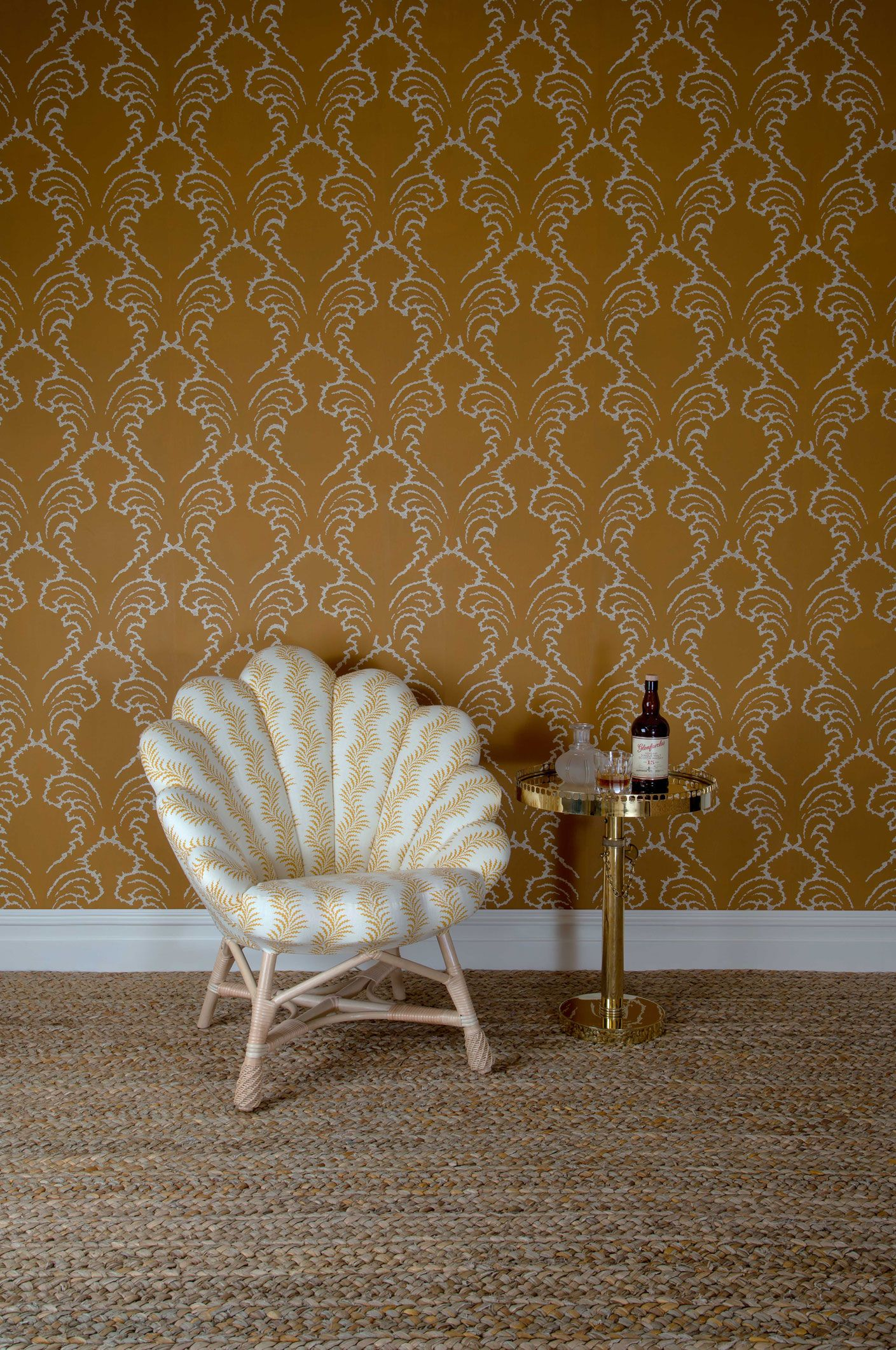The Upholstered Venus Chair The Carafe Table and Pineapple Frond 1409x2122