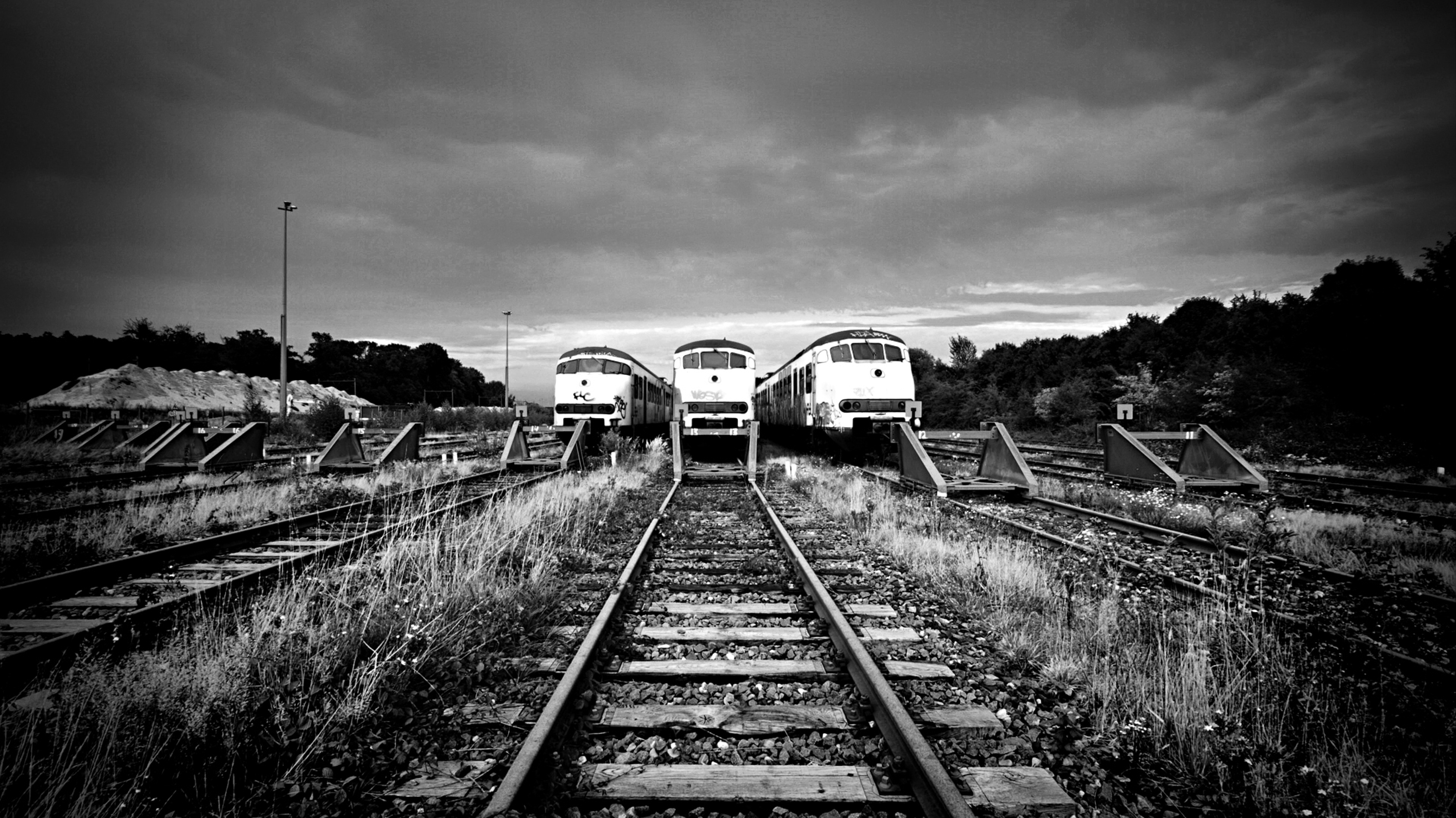 Railway Rails Black and white Wallpaper Background 4K Ultra HD 3840x2160