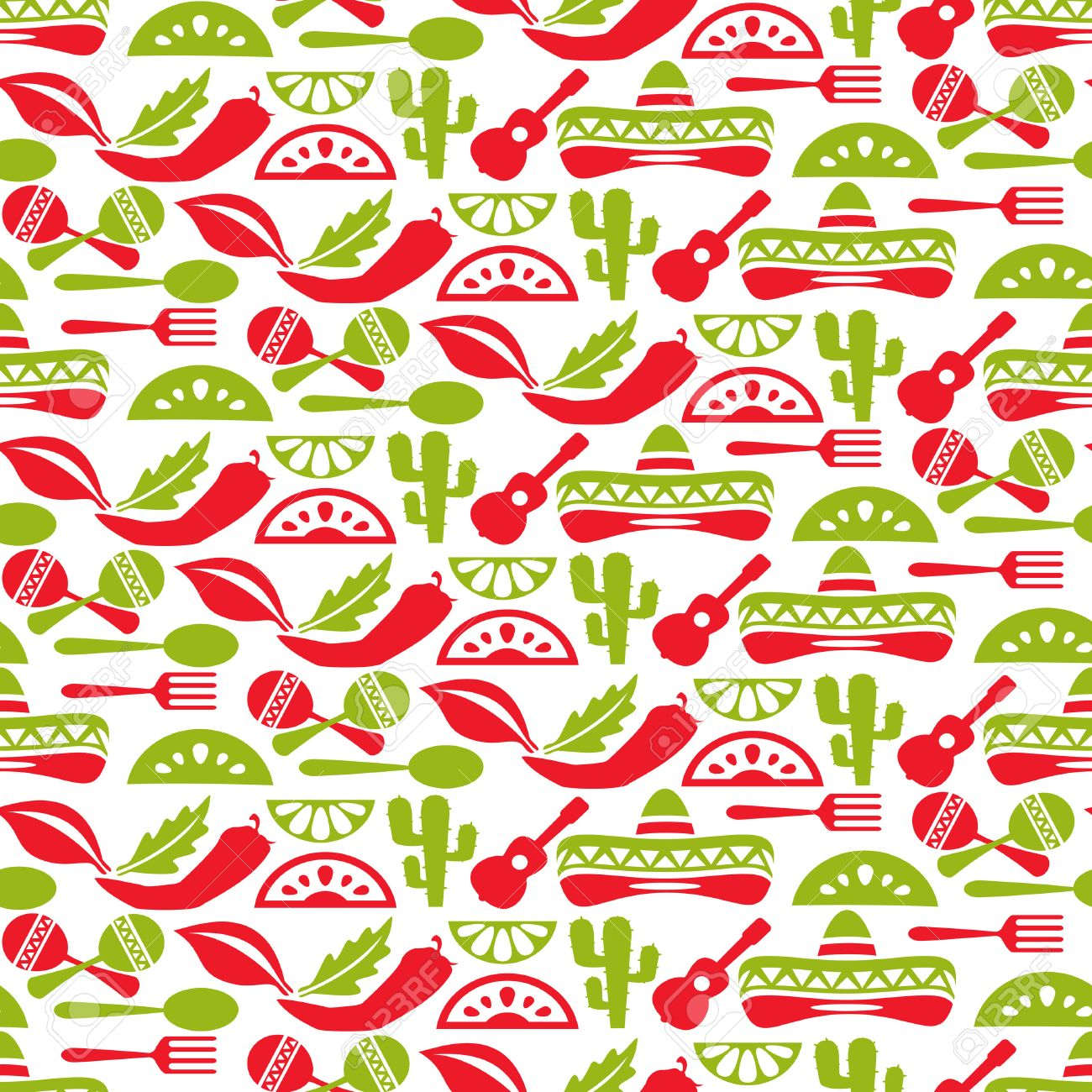 Mexican Pattern Fiesta And Sombrero Seamless Background Mexico 1300x1300