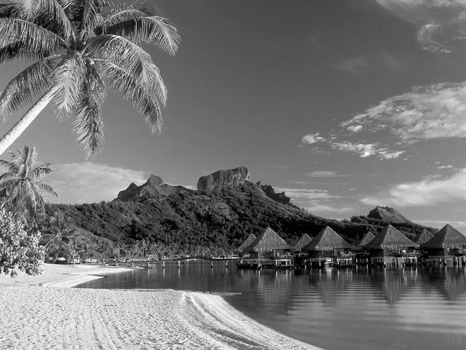 Black and White Wallpapers Black and White Beach Landscape HD 1600x1200