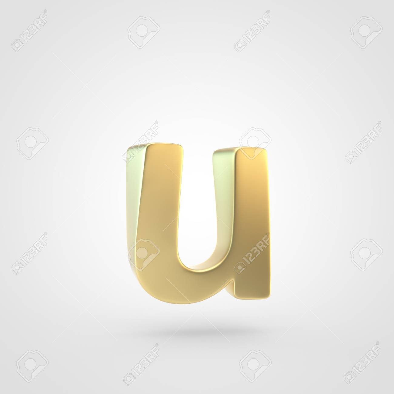 Golden Letter U Lowercase 3D Rendering Of Matted Golden Font 1300x1300