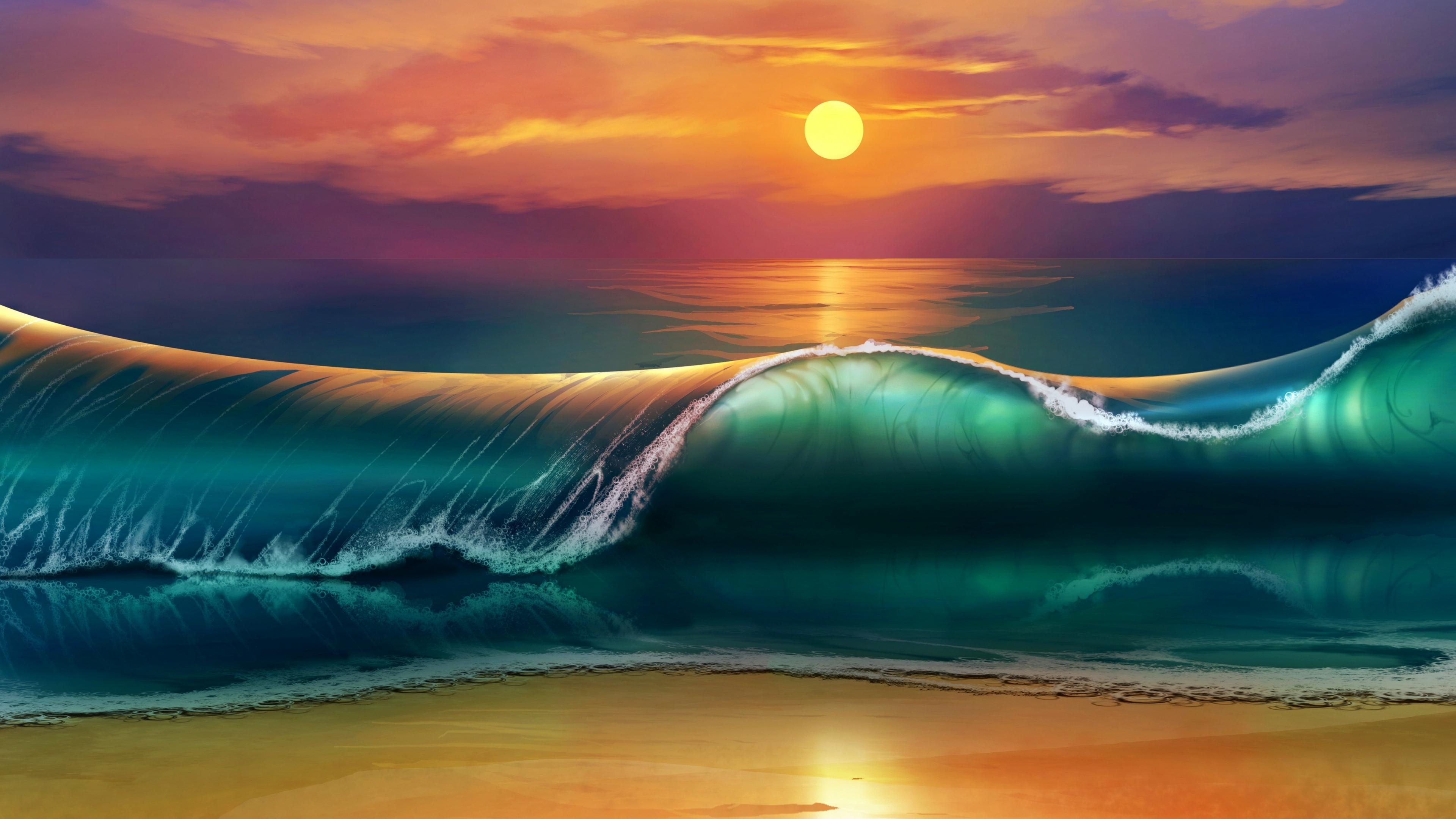 Wallpaper 3840x2160 art sunset beach sea waves 4K Ultra HD HD 3840x2160