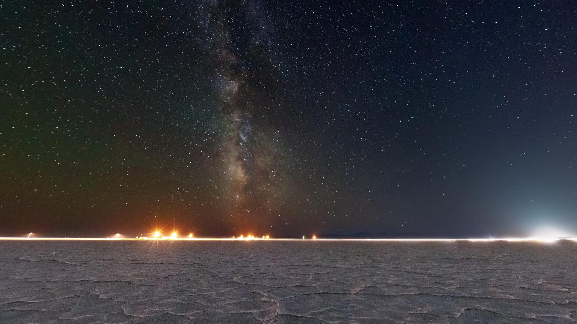 Bonneville salt flats at night panoramic view [1920 x 1080 1920x1080