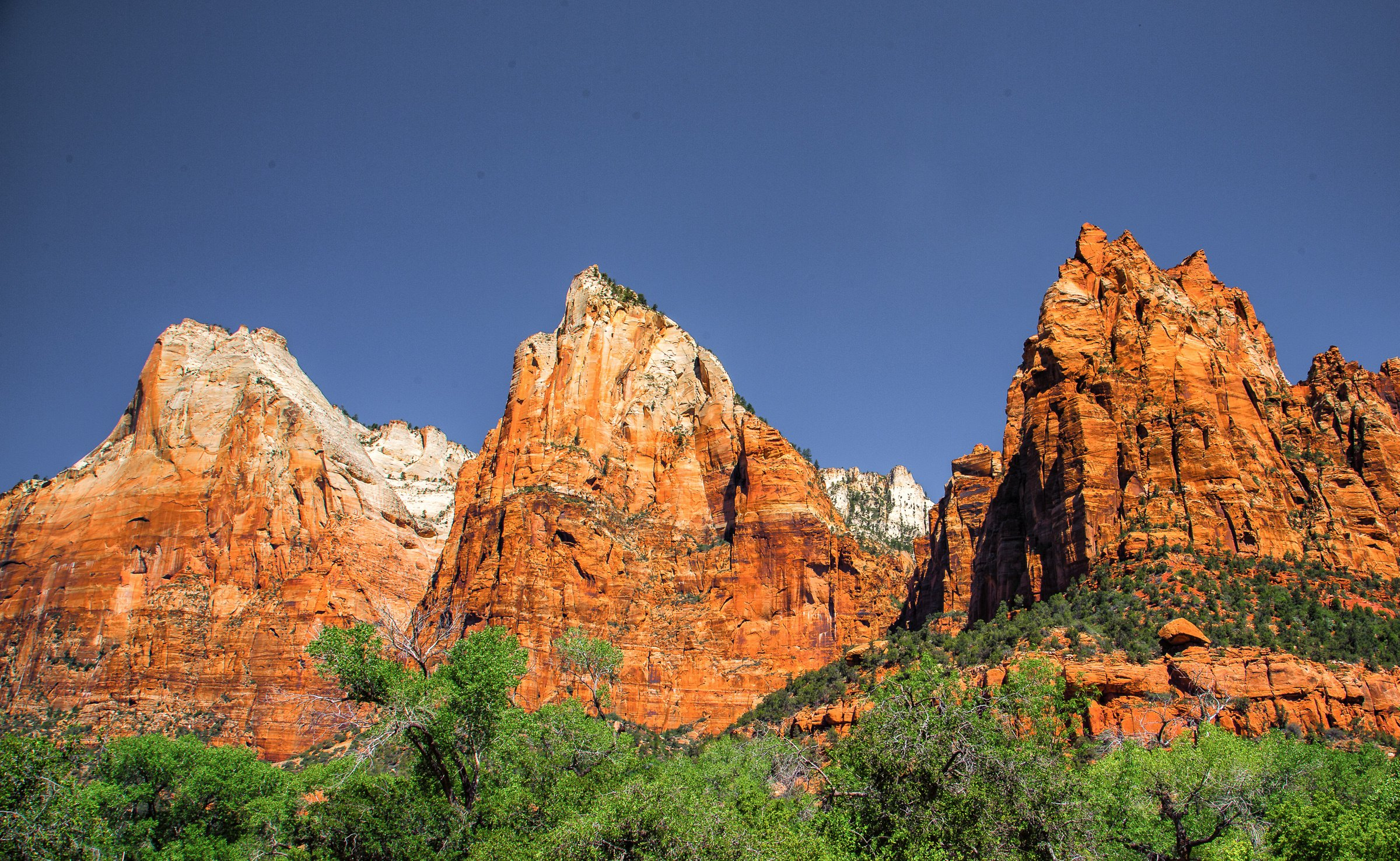 zion national park utah desert mountains landscape wallpaper 2400x1476