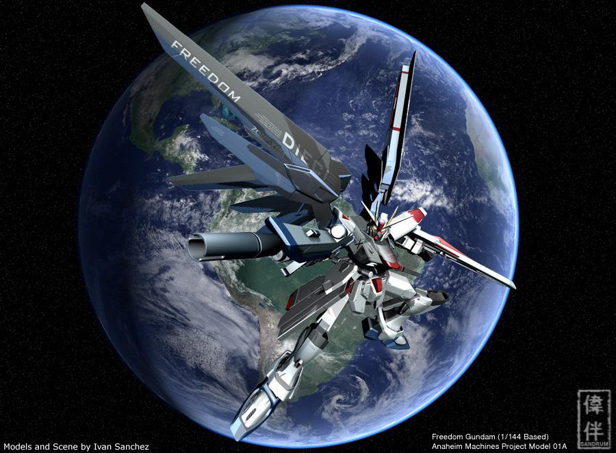 Freedom Gundam Aiming by sandrum 900x662