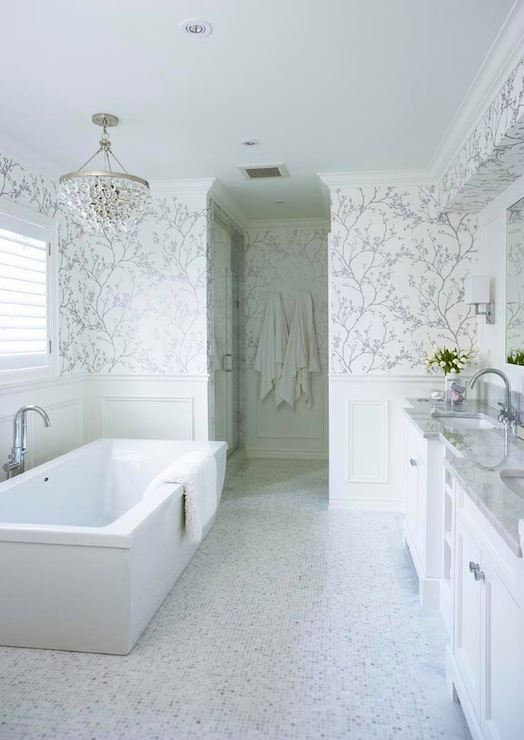 White and Silver Wallpaper   Transitional   bathroom   Jennifer Worts 524x740