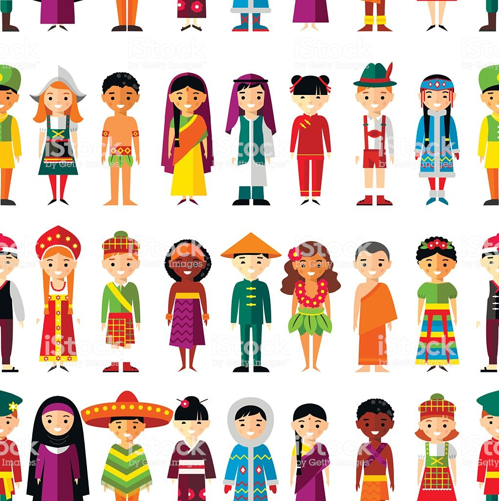Seamless Background With Set Of Multicultural National Children 1021x1024