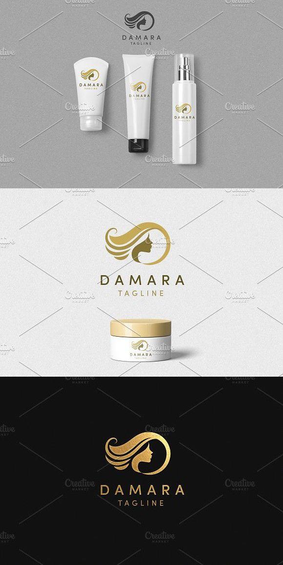 Damara Logo Template Feminine Design Logo templates Cosmetic 580x1158