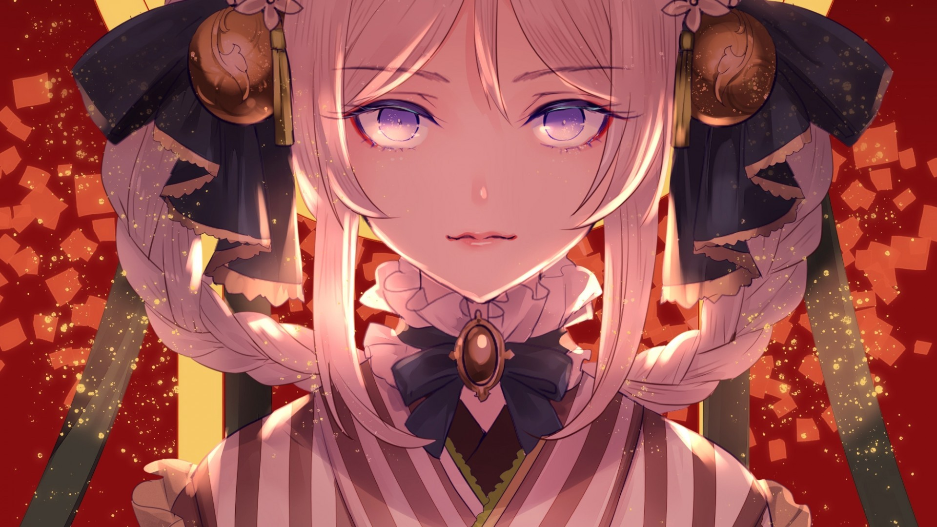 Download 1920x1080 Anime Girl Traditional Outfit White Hair 1920x1080