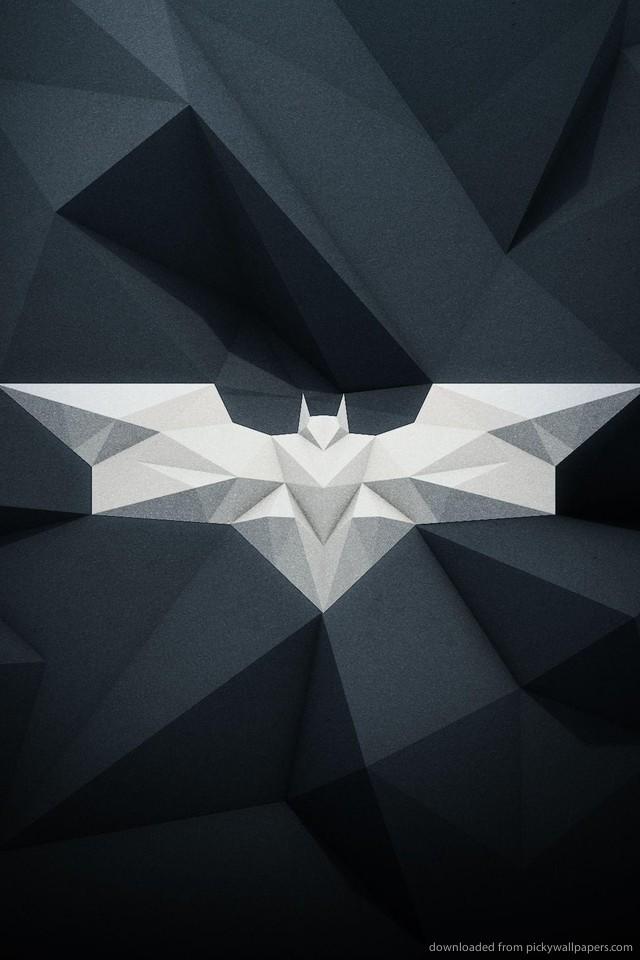 Polygonal White Batman Logo wallpaper for iPhone 4Awesome Batman Logo 640x960