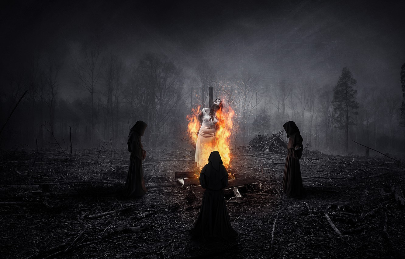 Wallpaper forest night people fire ritual witch three burns 1332x850