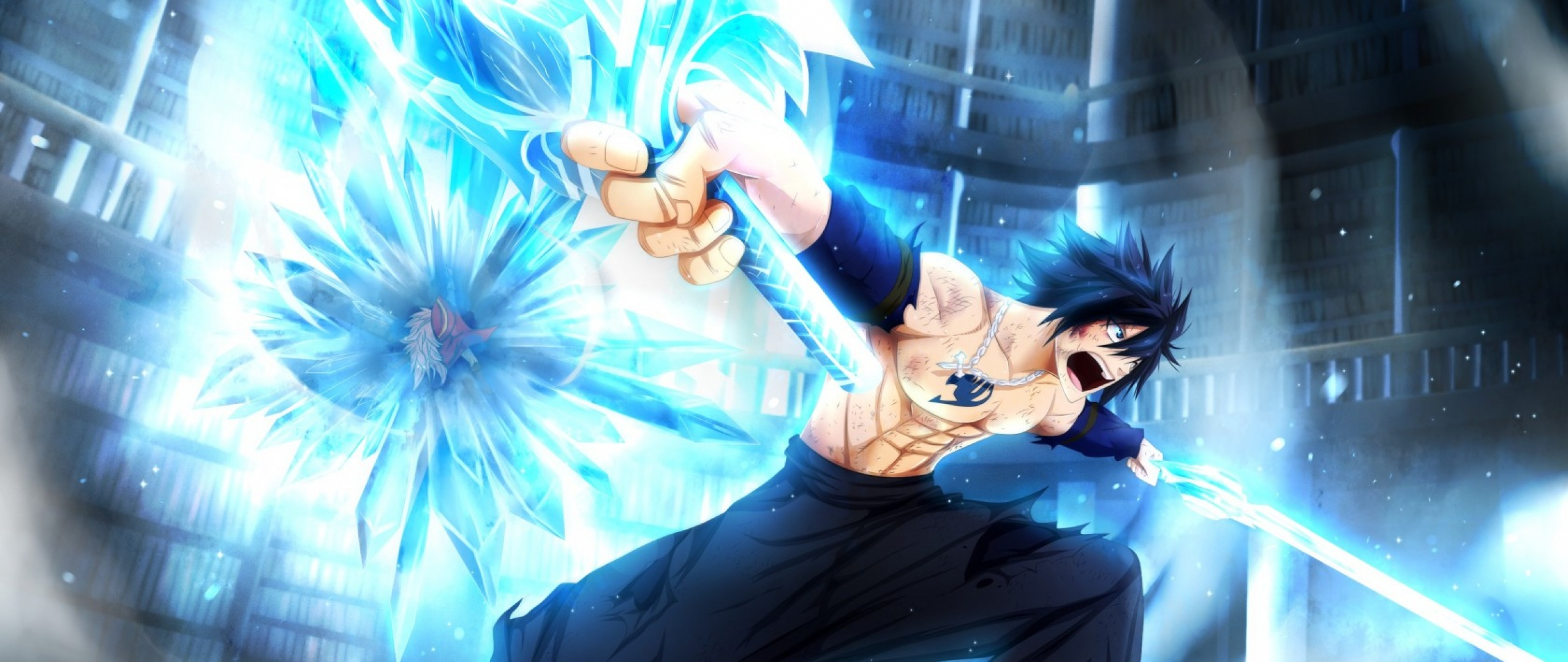 Download Wallpaper 2560x1080 Fairy tail Gray fullbuster 2560x1080