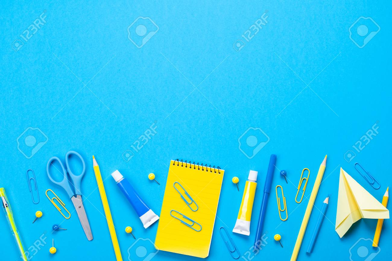 Yellow School Supplies Over The Blue Pastel Background Education 1300x866