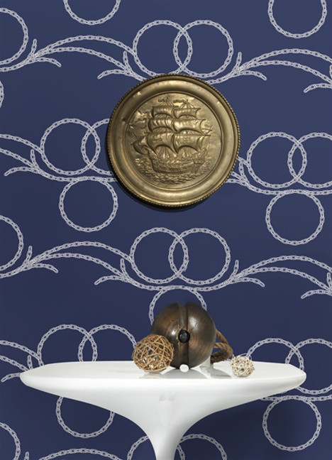 Buy Online Chains Wallpaper in Navy and White Kreme Best Selling 468x648