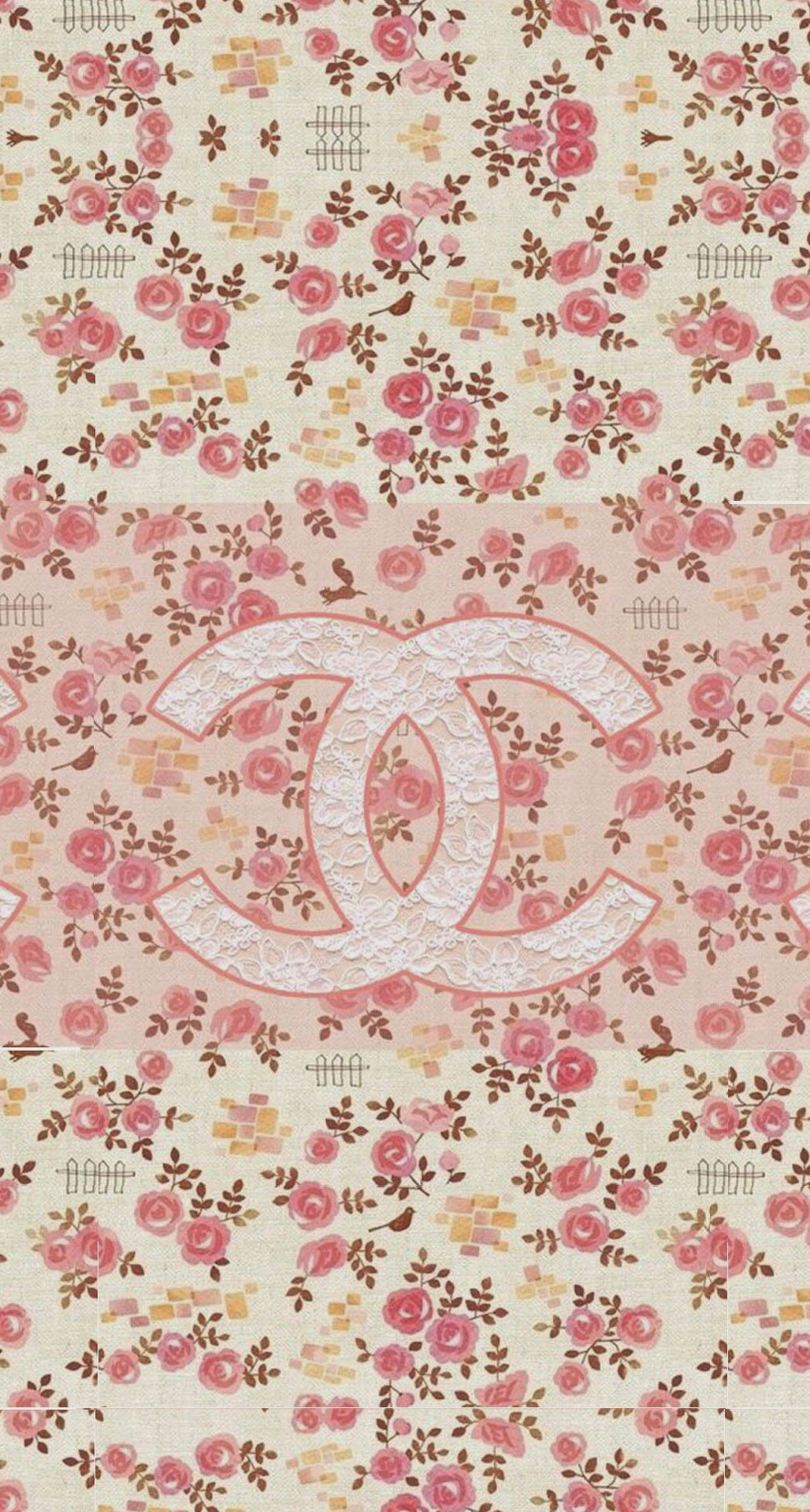 Coco Chanel Flowers Pattern Logo iPhone 6 Plus HD Wallpaper iPod 1028x1920