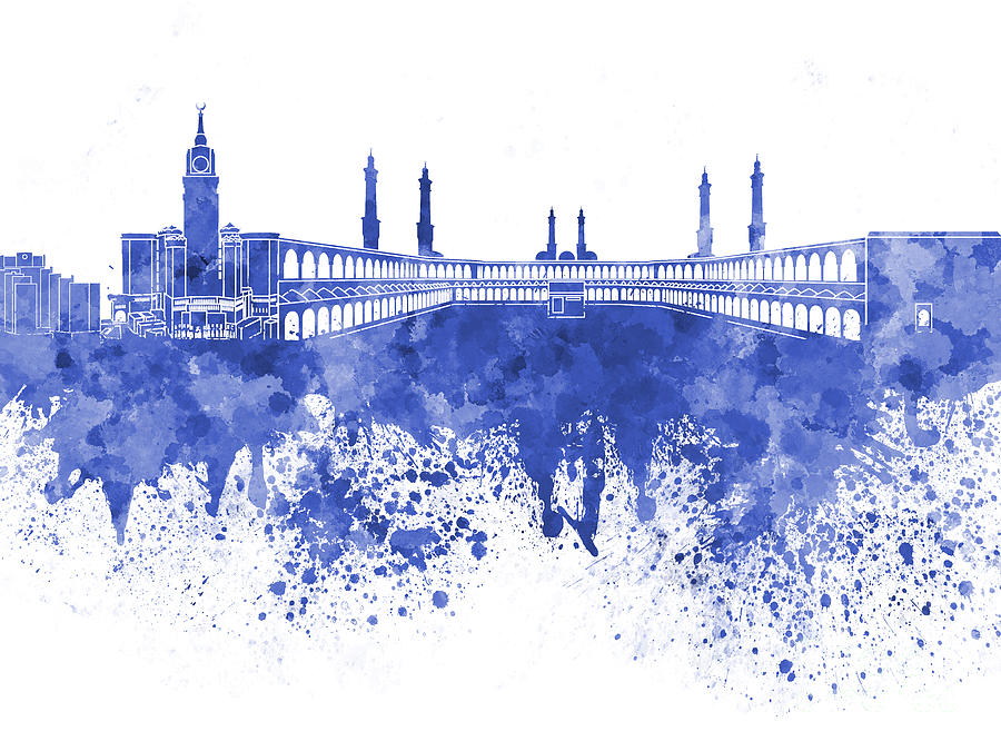 Mecca Skyline In Watercolor On White Background 5 Painting by 900x675