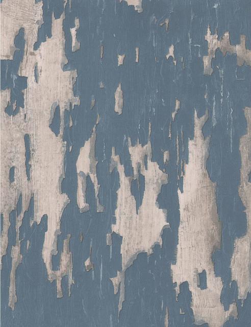 Distressed Plaster Industrial Loft Wallpaper Blue   Transitional 492x640