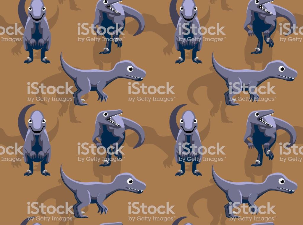 Dinosaur Utahraptor Cartoon Background Seamless Wallpaper Stock 1024x763