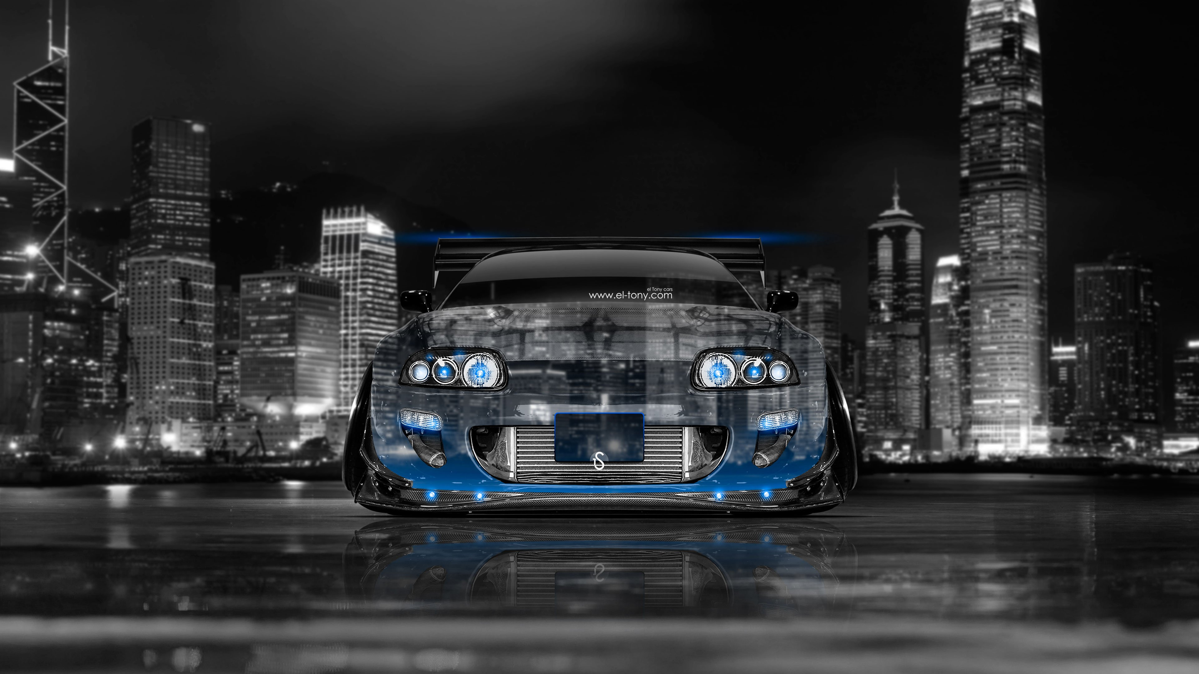Supra JDM Tuning Front Crystal City Car 2014 Blue Neon 4K Wallpapers  3840x2160